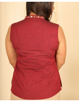 Sleeveless cotton short top with embroidered V neck-LB160-S-Maroon-1-sm