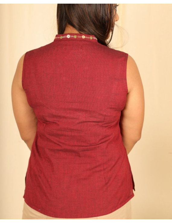 Sleeveless cotton short top with embroidered V neck-LB160-S-Maroon-1