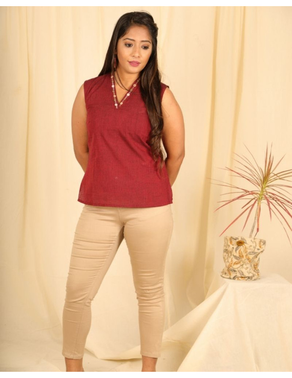 Sleeveless cotton short top with embroidered V neck-LB160-S-Maroon-2