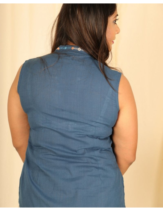 Sleeveless cotton short top with embroidered V neck-LB160-Blue-M-1