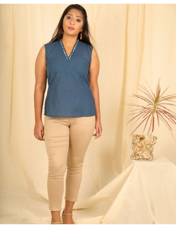 Sleeveless cotton short top with embroidered V neck-LB160-Blue-M-2