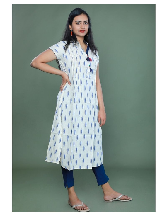 Casual dress with pintucks and tassels : LD340-White-L-3