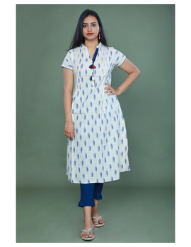Casual dress with pintucks and tassels : LD340-XS-White-2-sm