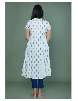 Casual dress with pintucks and tassels : LD340-XS-White-4-sm