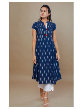 Casual dress with pintucks and tassels : LD340-Blue-L-1-sm