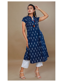 Casual dress with pintucks and tassels : LD340-LD340Bl-M-sm