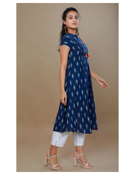 Casual dress with pintucks and tassels : LD340-Blue-M-2-sm