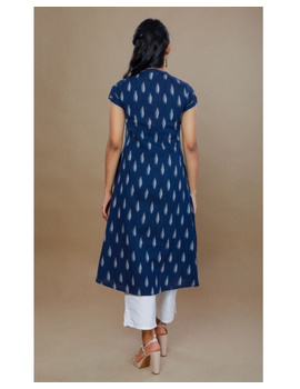 Casual dress with pintucks and tassels : LD340-S-Blue-3-sm