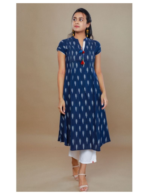 Casual dress with pintucks and tassels : LD340-Blue-XL-1