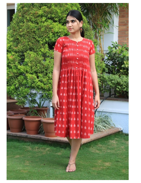 Ikat calf length dress with pintucks and pockets: LD520-Red-L-3