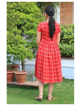 Ikat calf length dress with pintucks and pockets: LD520-Red-M-4-sm