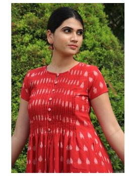 Ikat calf length dress with pintucks and pockets: LD520-S-Red-1-sm