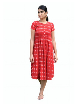 Ikat calf length dress with pintucks and pockets: LD520-S-Red-3-sm