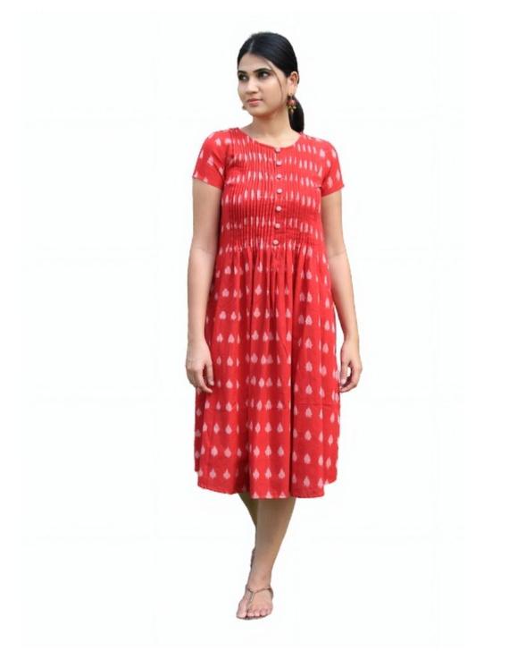 Ikat calf length dress with pintucks and pockets: LD520-S-Red-3