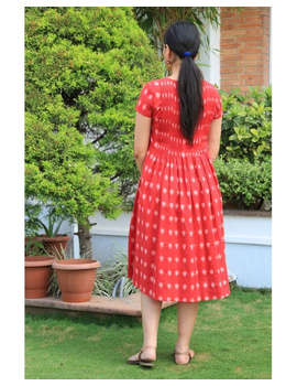Ikat calf length dress with pintucks and pockets: LD520-S-Red-4-sm