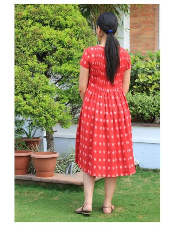Ikat calf length dress with pintucks and pockets: LD520-S-Red-4