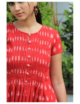 Ikat calf length dress with pintucks and pockets: LD520-Red-XL-1-sm
