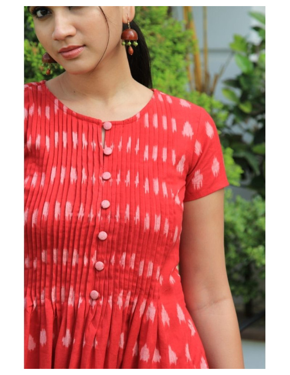 Ikat calf length dress with pintucks and pockets: LD520-Red-XL-1
