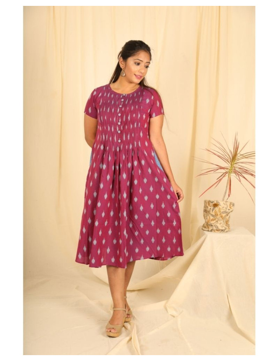 Ikat calf length dress with pintucks and pockets: LD520-LD520Bl-S