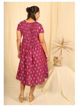 Ikat calf length dress with pintucks and pockets: LD520-Purple-S-1-sm