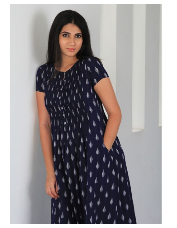 Ikat calf length dress with pintucks and pockets: LD520-LD520Cl-L