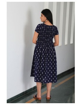 Ikat calf length dress with pintucks and pockets: LD520-Blue-L-5-sm