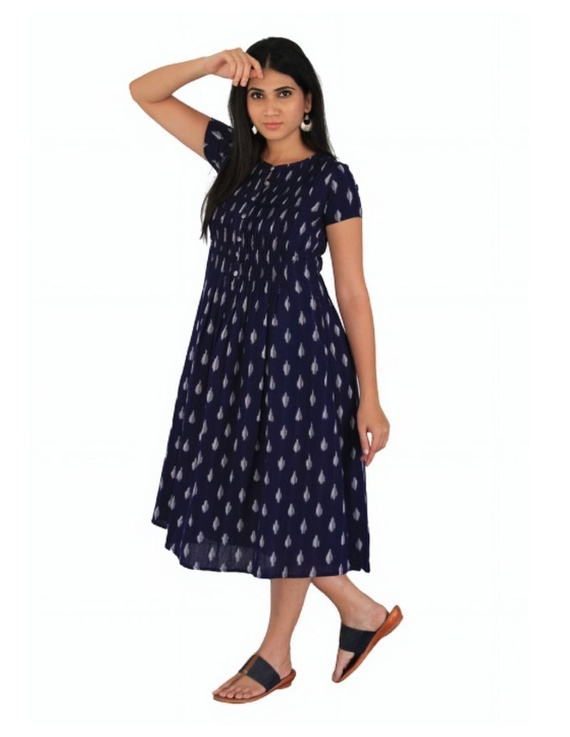 Ikat calf length dress with pintucks and pockets: LD520-Blue-M-4