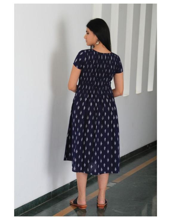 Ikat calf length dress with pintucks and pockets: LD520-Blue-M-5