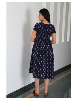 Ikat calf length dress with pintucks and pockets: LD520-Blue-S-5-sm