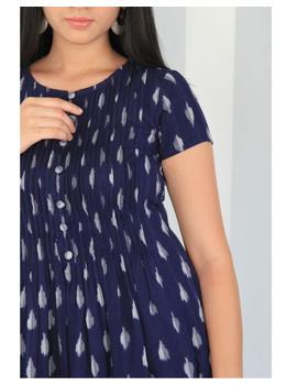 Ikat calf length dress with pintucks and pockets: LD520-Blue-XL-2-sm