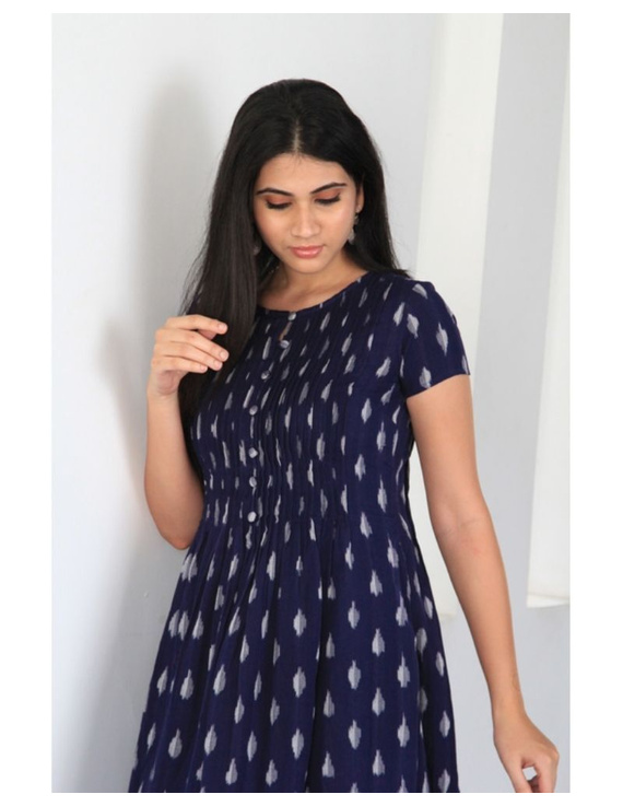 Ikat calf length dress with pintucks and pockets: LD520-Blue-XL-3