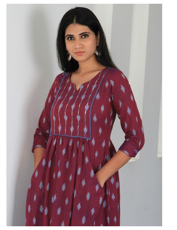 Ikat dress with embroidered yoke and front pockets: LD530-Purple-L-2