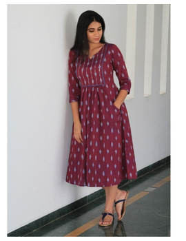 Ikat dress with embroidered yoke and front pockets: LD530-LD530Al-M-sm