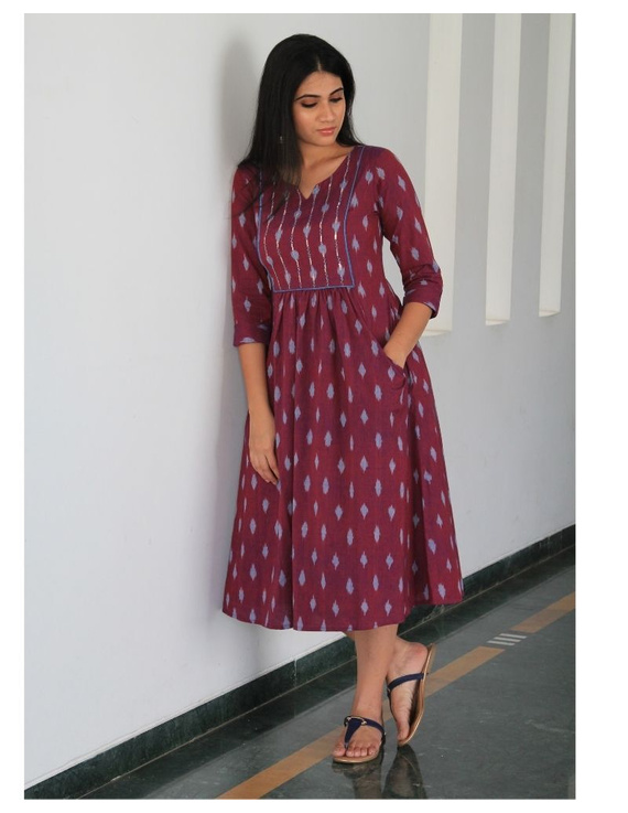 Ikat dress with embroidered yoke and front pockets: LD530-LD530Al-M