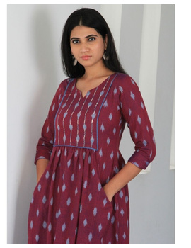 Ikat dress with embroidered yoke and front pockets: LD530-Purple-M-2-sm