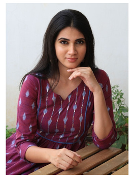 Ikat dress with embroidered yoke and front pockets: LD530-S-Purple-1-sm