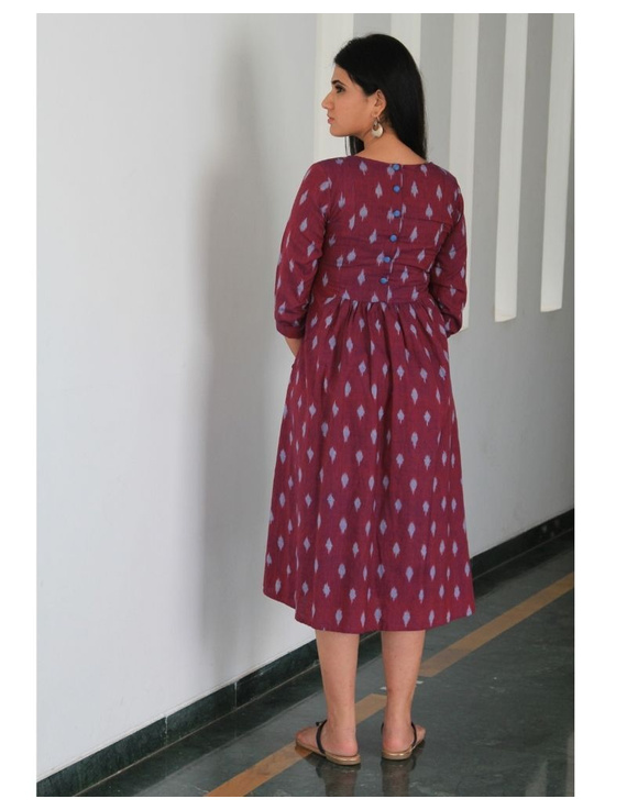 Ikat dress with embroidered yoke and front pockets: LD530-S-Purple-3