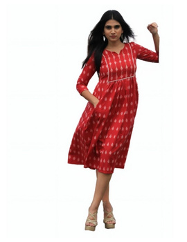Ikat dress with embroidered yoke and front pockets: LD530-Red-M-2-sm