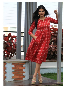 Ikat dress with embroidered yoke and front pockets: LD530-Red-M-4-sm
