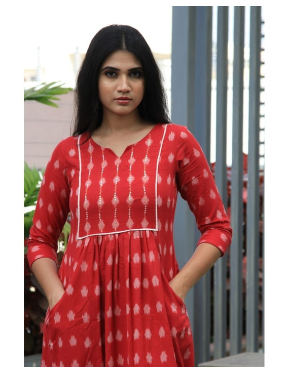 Ikat dress with embroidered yoke and front pockets: LD530-LD530Bl-S
