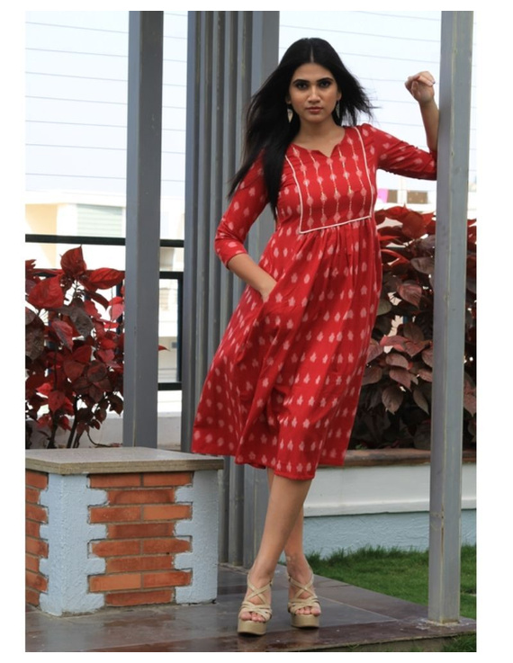 Ikat dress with embroidered yoke and front pockets: LD530-Red-S-4