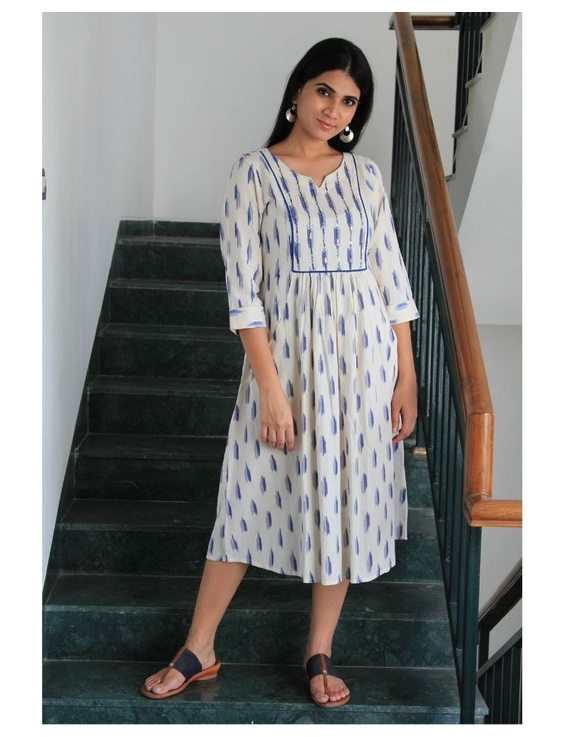 Ikat dress with embroidered yoke and front pockets: LD530-LD530Dl-L