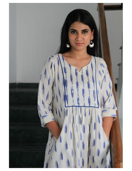 Ikat dress with embroidered yoke and front pockets: LD530-White-M-1-sm