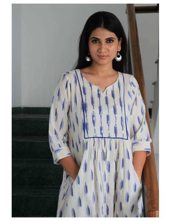 Ikat dress with embroidered yoke and front pockets: LD530-White-M-1