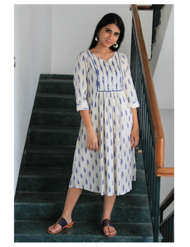 Ikat dress with embroidered yoke and front pockets: LD530-LD530Dl-S-sm
