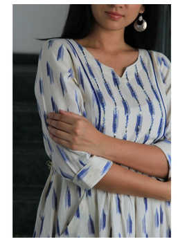 Ikat dress with embroidered yoke and front pockets: LD530-White-S-2-sm