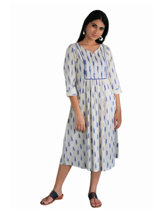 Ikat dress with embroidered yoke and front pockets: LD530-White-S-4