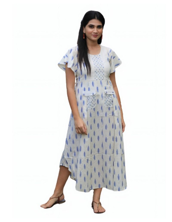 Ikat dress with embroidered yoke and front pockets: LD530-White-S-5
