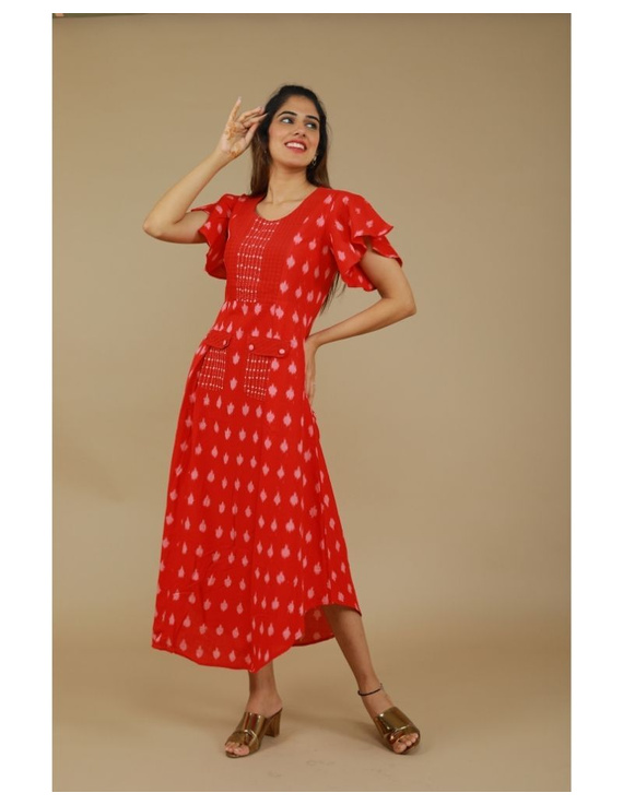 Ikat dress with embroidered yoke and petal sleeves: LD550-LD550Al-S