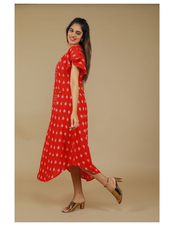 Ikat dress with embroidered yoke and petal sleeves: LD550-S-Red-3